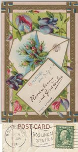 REMEMBRANCES AND GOOD WISHES + flowers / BOSTON - ROSLINDALE STATION FLAG 1910