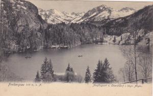 FREIBERGSEE LAKE, Oberstdorf, Bavaria, Germany; General View, Mountain Backgr...