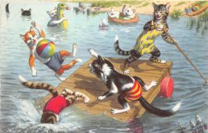 F60/ Alfred Mainzer Dressed Cats Postcard c1940s Swimming Lake Dock 13