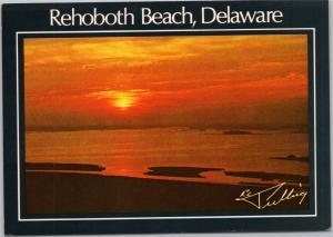postcard Rehoboth Beach Delaware, beach sunset