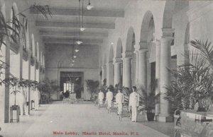 MANILA, Philippine Islands, 1900-10s, Main Lobby, Manila Hotel