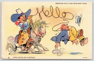Dropping You a Line From Vernon West Texas~Comic~Hello Lasso Rope~1938 Linen PC