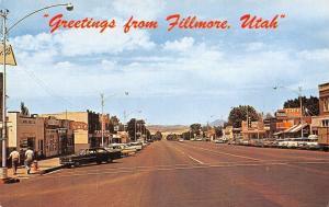 Fillmore Utah~Drug Store~Beer~Cafe Ilene~Avalon Theatre~1950s Cars~Postcard