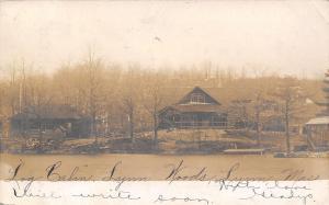 Lynn MA~Gladys' Log Cabin in Lynn Woods~Waterfront~1906 Real Photo Postcard~RPPC