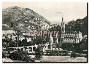 Modern Postcard Lourdes Basilica and the Pic du Jer