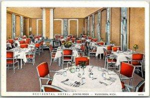 Vintage 1938 Muskegon, Michigan Postcard OCCIDENTAL HOTEL Dining Room View