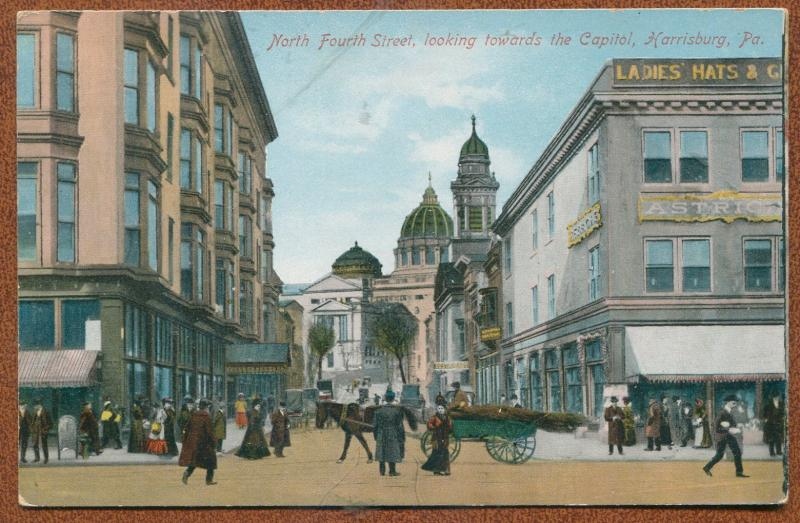 Harrisburg Pennsylvania pa North Fourth Street looking towards capitol postcard