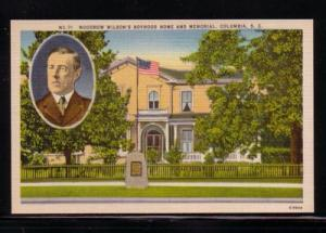 South Carolina colour PC Woodrow Wilson Home and Memorial, unused