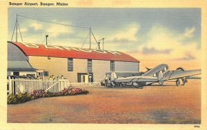 Bangor ME Airport Prop Airplane Linen Postcard