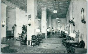 Jacksonville, Florida Postcard HOTEL ROOSEVELT The Lounge Lobby 1939 Cancel