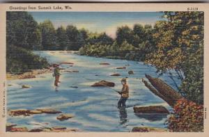 Wisconsin Greetings From Summit Lake Fishing Scene Curteich