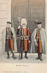 GUARDIE SWIZZERE~SWISS GUARDS-1900s TINTED PHOTO POSTCARD