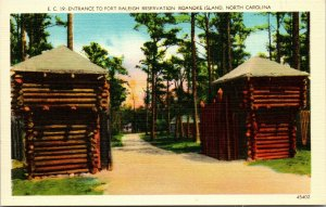 Roanoke Island, NC, Entrance, Fort Raleigh Reservation, Vintage Postcard