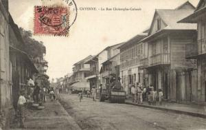 french guiana, Guyane, CAYENNE, Rue Christophe-Colomb, Steamroller 1907 Postcard