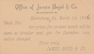 HARRISBURG , Pennsylvania , 1886 ; James Boyd & Co Notice