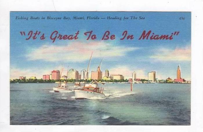 Fishing Boats In Biscayne Bay,Miami,Florida,PU-1961