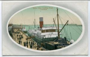 Belfast Boat Steamer Landing Stage Liverpool UK 1910c postcard