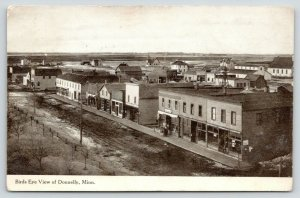Donnelly MN~Dairy Store w/Milk Cans Bunched on Sidewalk~Birdseye View~1909 B&W