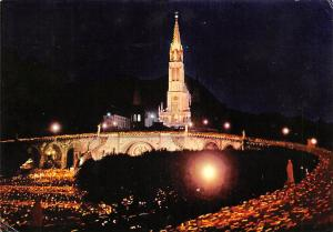 France Lourdes The Basilica at Night and the Procession
