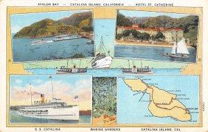 Avalon Bay, Catalina Island, S.S. Catalina, California ca 1920s Vintage Postcard