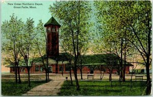 Great Falls, Montana Postcard NEW GREAT NORTHERN DEPOT Train Station 1913 Cancel