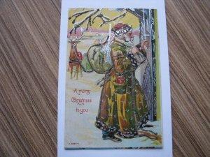 Santa Claus Antique Christmas Postcard Gold / Brown Robe #659-4 Unused Glitter