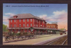 North Carolina colour Atlantic Coastline RR Station Rocky Mount, unused