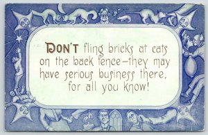 Comic Quote~Court Jester Border~Don't Fling Bricks at Back Fence~Serious Cats