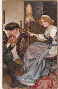 TUCK #3424; Calendar Series, Man admiring woman at spinning wheel. 00-10s