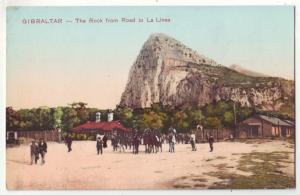P986 old card horses people gibraltar the rock from road to la linea