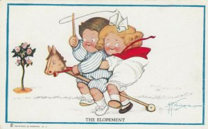 Grace DRAYTON-WIEDERSEIM, 1900-10s; Child couple on stick horse, The Elopement