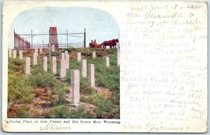 1911 Wyoming Postcard Burial Place Gen Custer & His Brave Men Little Bighorn