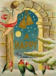 Vintage New Year Postcard Cherub Hanging Bells With Birds Embossed SL & Co. 1908