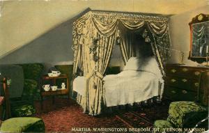 Mt. Vernon, Virginia, VA, Martha Washington's Bedroom, Vintage Postcard e7446