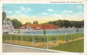 Ottumwa Iowa~Municipal Swimming Pool~Girl on Diving Board~Waterslide~1939 Pc