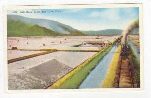 Train passes salt fields, Great Salt Lake, Utah 1910-20s