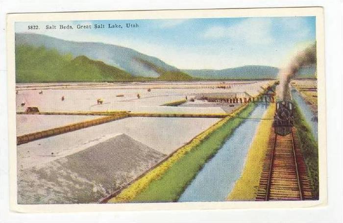 Train passes salt fields, Great Salt Lake, Utah 1910-20s
