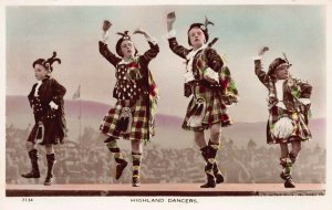 Highland Dancers, Scotland, early hand colored real photo postcard, unused