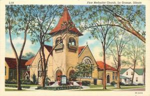 La Grange IL~First Methodist Church~Homes~1940 Linen Postcard
