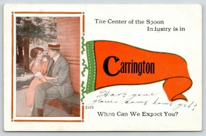 Carrington North Dakota~This is the Center of the Spoon Industry~1915 Pennant
