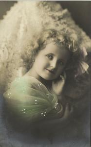 Sweet Young Curly Girl with Green Stole, White Painted Dots (1910s) A&J Co. RPPC