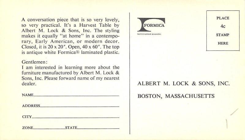 Boston Massachusetts~Albert M Lock And Sons Inc~Formica Folding Table 1940s