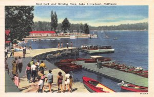 Boat Dock and Bathing Cove, Lake Arrowhead, California, Early Postcard, Unused