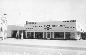 Wilcox AZ Valley Auto Co. Chevrolet Oldsmobile Dealership Gas Station Postcard