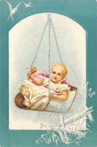 Lion Coffee Woolson Spice Dayton Ohio Victorian Trade Card Baby Swinging Scale