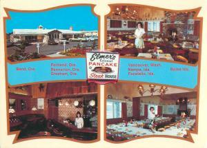 Oregon, Elmer's Colonial Pancake & Steak House 4 Views Vtg. Continental Postcard