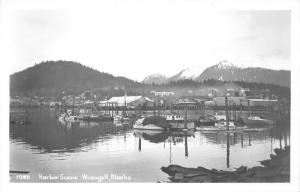 Wrangell Alaska~Harbor Scene~Fishing Boats~Mountains Background~1950s RPPC