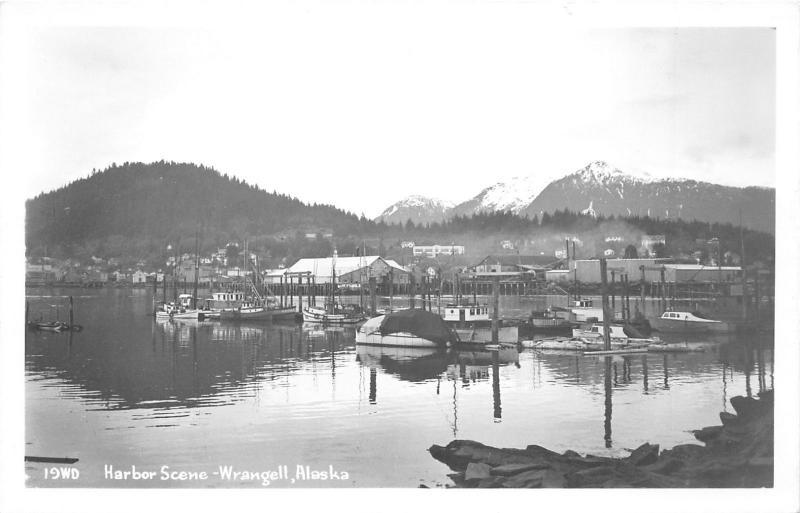 Wrangell Alaska~Harbor Scene~Fishing Boats~Mountains Background~1950s RPPC