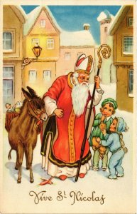 PC CPA SANTA CLAUS CHRISTMAS, ST.NICOLAS WITH DONKEY & CHILDREN (b15042)
