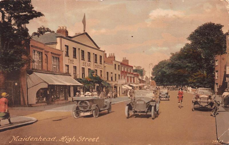 Maidenhead, High Street, England, Hand Colored Postcard, Used
